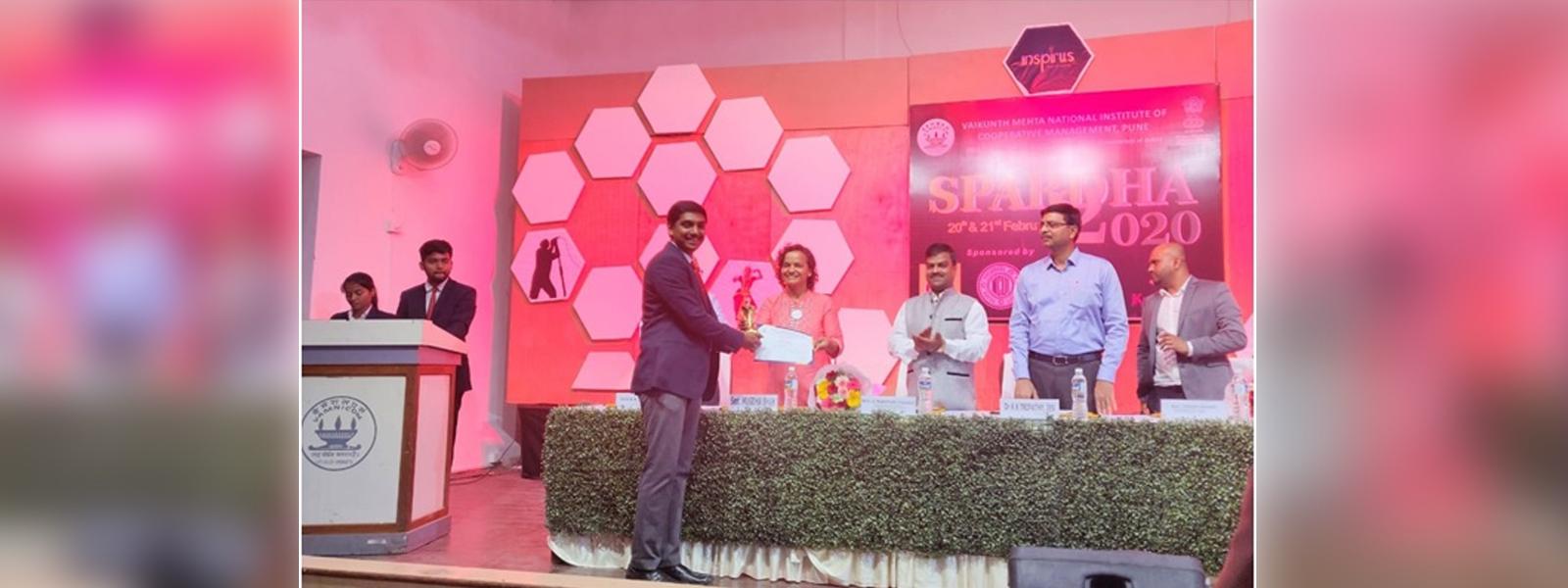 Aditya Vilas Dhurjad awared Best Manager Award ( Rank 3rd) at Vamnicom, 21st to 22nd February, 2020
