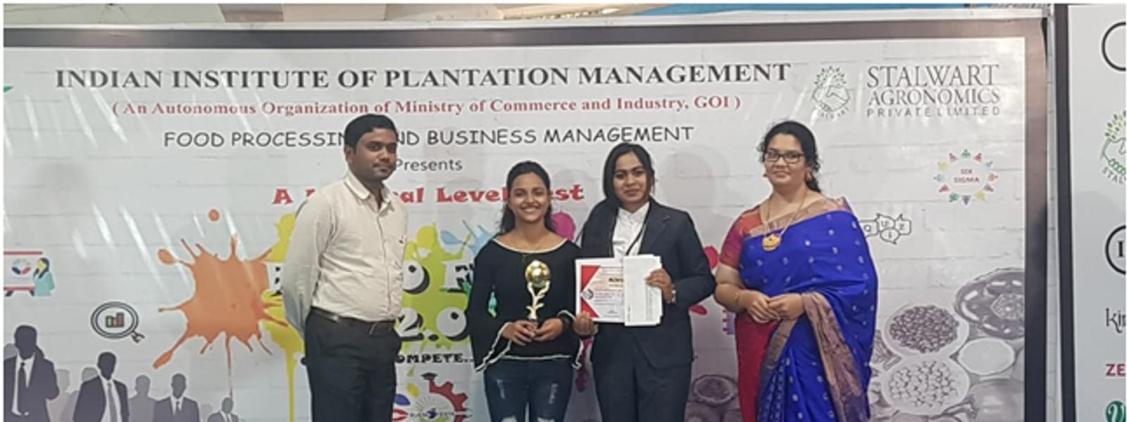 Sakshi Andholkar & Anupriya Mahajan Awared 1st prize in BUENO FESTA-20 ( Poster) held at IIPM, Banglore on 19th -20th December 2019