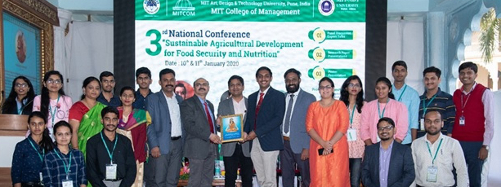 Token of Appreciation given by MIT university Pune to Students of K K Wagh College of Food Technology, Nashik for largest participation on in national conference held  on 10th to 11th January, 2020.